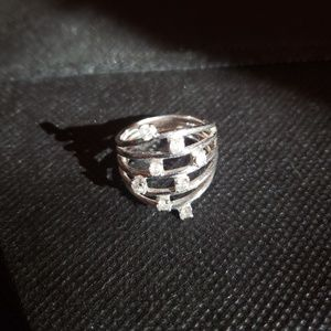 Size 7 Sterling Siver Ring with Small Diamonds